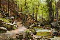 Mountain Forest Creek Landscape Oil painting Art Giclee Printed on Canvas P1232