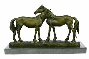 China Bronze Copper Feng Shui Wealth Lucky Gallop Two Horses Horse Art Statue