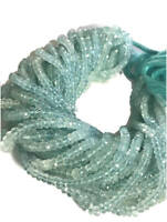"""13"""" NATURAL TOP AAA AQUAMARINE FACETED RONDELLE 4-5 MM BEADS GEMSTONE"""