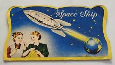 vtg sewing needle case Space Ship earth & rocket Mcm Made in Japan