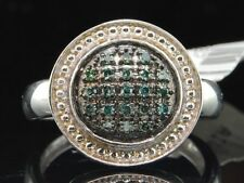 Blue Diamond Domed Cocktail Right Hand Fashion Ring .925 Sterling Silver 0.20 Ct