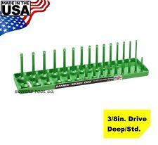 "Hansen Global 3/8"" Drive Socket Tray Holder Metric MM Standard Deep USA Green"