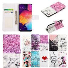 Para Samsung S10 A20E A60 10 3D Patrones Abatible Cuero Note Cartera Funda Estuche de tarjeta