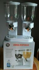 Doppio CLASSICO IN PLASTICA CIBO SECCO cereali Dispenser/Dadi/Riso/BAMBINI Pantaloni della tuta (bianco)