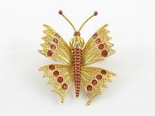 18k Yellow Gold Enamel Butterfly Pin Brooch