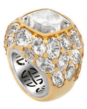 Mimi Milano 18k White & Rose Gold & Rock Crystal Ring Sz 7 A043R026;S54