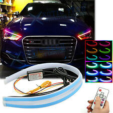 "For Audi A4 2x 24"" RGB LED Remote Control Sequential Turn Signal Light Headlight"