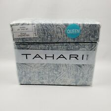 Tahari Home Soft Touch Paisley Blue White 6 Pc Queen Sheet Set 100% Polyester