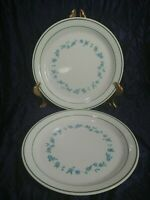 """Corelle Forget Me Not Set of 2 Lunch Salad Plates Dishes 8.5"""" Blue Flower 1983"""