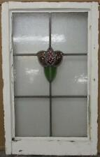 """MIDSIZE OLD ENGLISH LEADED STAINED GLASS WINDOW Abstract Floral 18.25"""" x 29.75"""""""