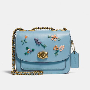 NWT Coach C3480 Madison Shoulder Bag 16 With Floral Embroidery in Azure