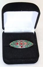 Antique Victorian Edwardian Brooch Pin Red and Green Diamonds C Catch Clasp