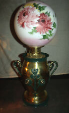 ANTIQUE BRASS BANQUET OIL LAMP (MUMS ON BASE AND GLOBE)