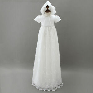 Tradition Baby Girls Long White Lace Christening Gown Bonnet size 0-18 Months