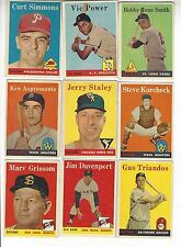 1958 topps set Choose any 9 cards from lot of over 160 different ones  listed.