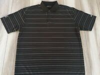 Nike Golf Fit-Dry Mens XL Polo Shirt Black Striped  Embroidered Patch Swoosh