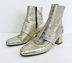 ASKA Women Gold Crackle Leather Closed Toe Ankle Boot Handmade Italy Size 8.5 39