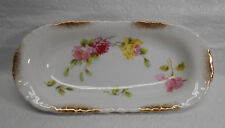 Vintage Wheelock Germany Celery Dish or Tray - Rose Floral Image & Gold Accents