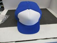 VINTAGE NOS  BLUE FULL PUFFY CAP HAT -WHITE FRONT-BLUE ROPE-NISS