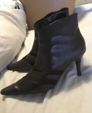 Like New Womens Boots Size 8.5 High Heels Point Toe Stilettos Ankle Leather Look
