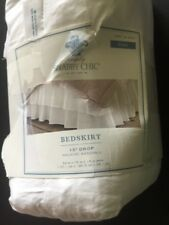 """Simply Shabby Chic Full Size White Double Ruffle Bedskirt 15"""" Drop NIP"""