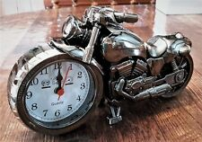 Motorcycle Alarm Clock Tabletop Desk Vintage Silver
