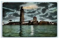 Postcard Graves Light in Moonlight, Boston Harbor, MA 1911 H17