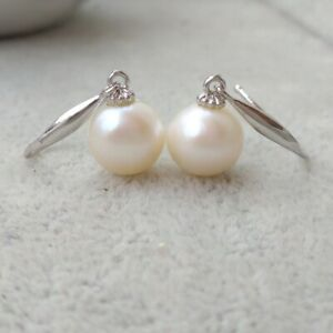 8.5-9mm South Sea Round White Pearl Dangle Earring 14k Gold Hook