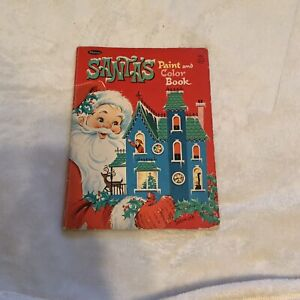 Vintage Whitman Santa's Paint and Color book coloring book 1968 Christmas crafts