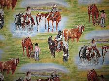 COWBOY COWGIRL WESTERN HORSE FARM COTTON FABRIC FQ