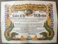 1951 US NAVY KOREAN WAR DOMAIN of the GOLDEN DRAGON RULER OF THE 180th MERIDIAN