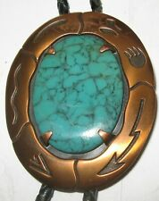 Vintage Solid Copper Faux Turquoise Bolo Tie Bell Trading Post