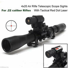 4X20 Hunting Telescopic Scope Mount for .22 caliber Rifles & Red Laser Sight 22