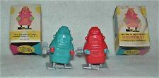 2CLASSIC 1960s VINTAGE MINI ROBOT WIND-UP ROBOTS PLASTIC&ALL METAL MECHANICLS HK