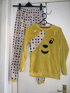 Children In Need Pudsey Bear  pj pant top Age 10 11 12 Year Yellow Fluffy George