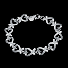 Link Chain Charm Bangle Bracelet #Br431 Womens 925 Sterling Silver Loving Heart