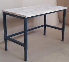 Banco ,Tavolo da lavoro in ferro regolabile con base in legno di Faggio naturale