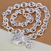 925 Sterling Silver Filled Womens Filigree Heart Locket Pendant Necklace Chain