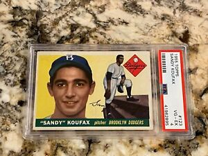 1955 TOPPS SANDY KOUFAX ROOKIE #123 PSA 4 FRESHLY GRADED CENTERED AMAZING COLORS