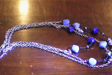 """Bohemian Blue Beaded 3-strand Statement Silver Tone Necklace 20"""" (77)"""