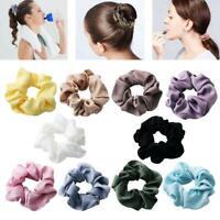 Women Solid Color Headwear Female Scrunchie Velvet Flannel Hair Ring Girl Gifts