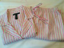 Womens Ralph Lauren Pink Striped Long Sleeve 100% Cotton Flannel Pajama Set XL