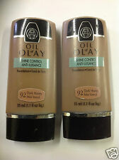 2 X Oil of Olay Shine Control Foundation Dark Honey #92 NEW.