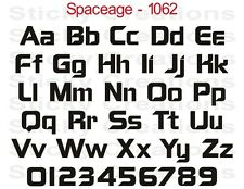 #1062 CUSTOM VINYL LETTERING Windshield Decal Graphic Sticker Bold Text Spaceage