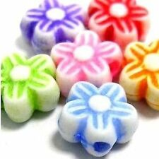 20g 7mm Mixed Colour Plastic Flower Beads - A5223
