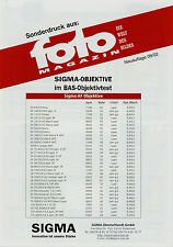 Sonderdruck Sigma Objektive Foto Magazin 9/02 2002 BAS Objektivtest Test Lenses