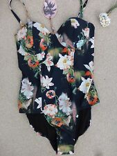 BNWT Ted Baker Meekka Opulent Bloom Angled Floral Print Swimsuit  size 32CD