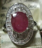 Beautiful STERLING SILVER Real Ruby Gem Stone Art Deco Revival RING P 7.5