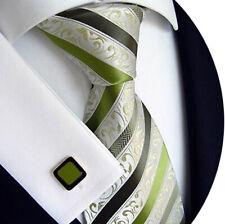 Handgefertigte Luxus Herren Seiden Krawatte, Gestreift, Grün Km 177.3 # 3i
