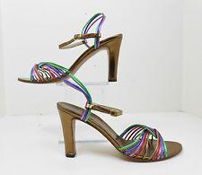 Vintage Retro 70's Andrew Geller Fiesta Made In Italy Metallic Heels Shoes 7 N